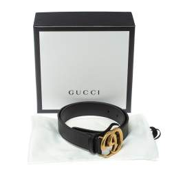 Gucci Black Leather GG Marmont High Waist Belt 75CM
