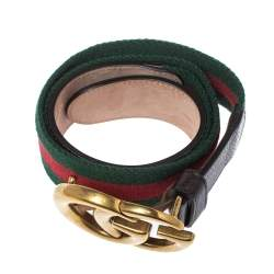 Gucci Brown Canvas and Leather Web Double G Buckle Belt 80 CM