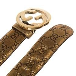 Gucci Metallic Gold Guccissima Leather Interlocking G Buckle Belt 80CM