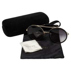 Gucci Black/ Grey Gradient GG0061S Round Sunglasses