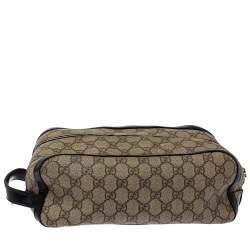 Gucci Beige/Black GG Supreme Canvas Toiletry Case