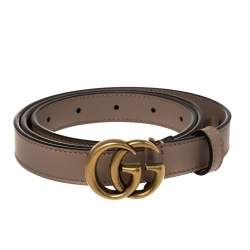 Gucci Old Rose Leather GG Marmont Buckle Narrow Belt 85CM