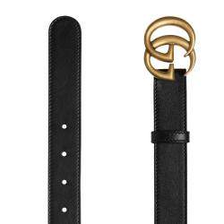 Gucci Black Leather Double G Buckle Belt