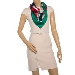 Gucci Green Guccissima Pattern Chain Argyle Print Silk Scarf