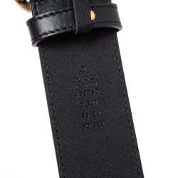 حزام غوتشي إبزيم حرف جي مزدوج مزخرف لؤلؤ جلد أسود 85 سم