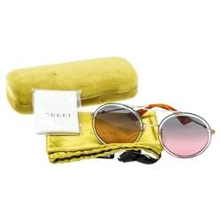 Gucci Green & Red / Double Gradient GG0061S Round Sunglasses