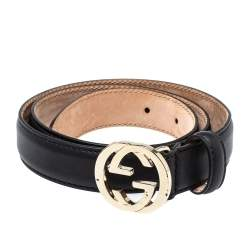 Gucci Black Leather Interlocking G Buckle Slim Belt 75CM