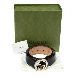 Gucci Black Leather Interlocking G Buckle Belt 85CM