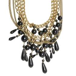 Gucci Black Beaded Gold Tone Chain Layered Choker Necklace