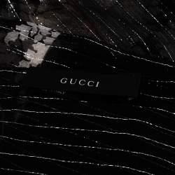 Gucci Black Paisley Printed Lurex Silk Fringed Scarf