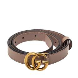 Gucci Beige Leather GG Marmont Slim Belt 85CM