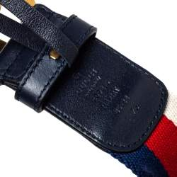 Gucci Navy Blue Web Canvas and Leather Double G Buckle Belt 85CM