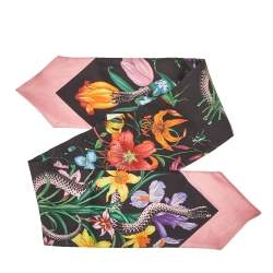 Gucci Black & Pink Flora Snake Print Silk Neck Bow