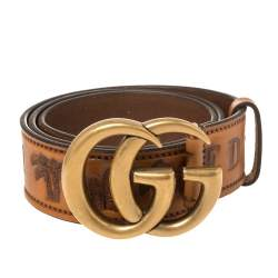 Gucci Brown Leather Loved Double G Buckle Belt 80CM
