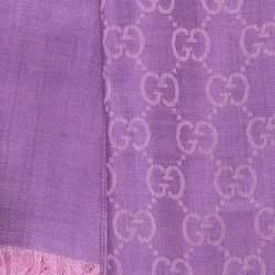 Gucci Lilac GG Guccissima Jacquard Wool & Silk Scarf