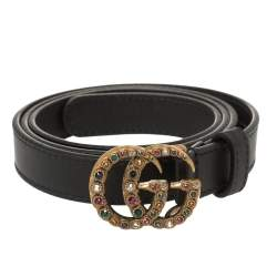 Gucci Black Leather GG Marmont Crystal Slim Belt 85CM