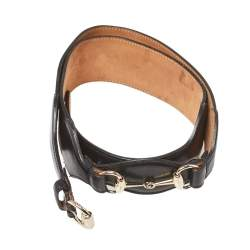 Gucci Black Leather Horsebit Waist Belt 100CM