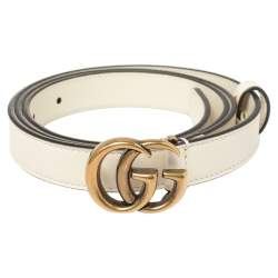 Gucci Off White Leather GG Marmont Slim Belt 90CM