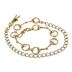 Gucci Gold Metal Horsebit Chain Belt 70CM