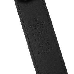 Gucci Black Leather Interlocking G Waist Belt 80CM