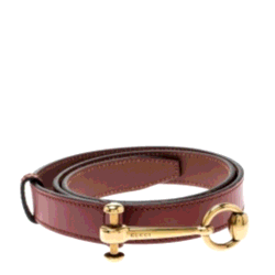Gucci Burgundy Leather Horsebit-Buckle Belt 85CM