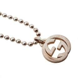 Gucci Sterling Silver Interlocking GG Pendant Necklace