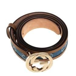 Gucci Blue GG Denim and Leather Trim Interlocking G Buckle Belt 90CM