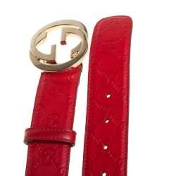 Gucci Red Guccissima Leather Interlocking G Buckle Belt 85CM