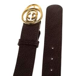 Gucci Dark Brown Leather Double G Buckle Belt 85CM