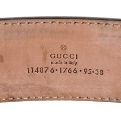Gucci Metallic Silver GG Canvas and Patent Leather Interlocking G Buckle Belt 95CM