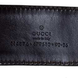 Gucci Brown/Beige GG Canvas and Leather Interlocking G Buckle Belt 95CM
