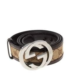 Gucci Brown/Beige GG Canvas and Leather Interlocking G Buckle Belt 95CM