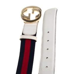 Gucci White Leather and Web Canvas Interlocking G Buckle Belt 90CM