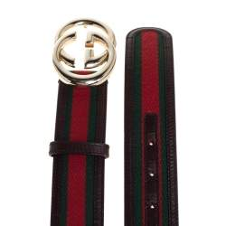 Gucci Brown Leather and Web Canvas GG Buckle Belt 85CM