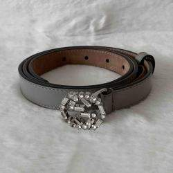Gucci Black Leather Crystal Embellished Interlocking G Buckle Belt 80 Cm