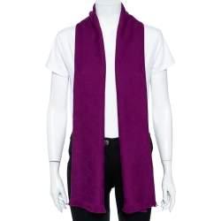 Gucci Purple Logo Jacquard Wool Scarf