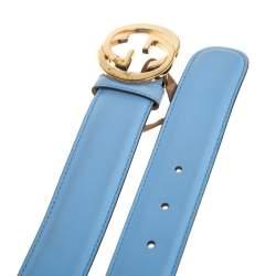 Gucci Blue Leather Interlocking G Buckle Belt 95CM