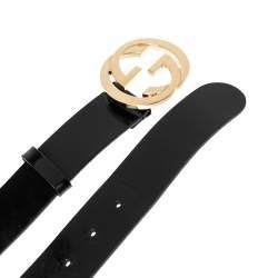 Gucci Black Leather Interlocking G Buckle Belt 90CM