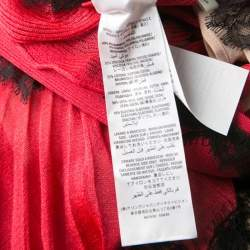 Gucci Red Lurex Knit Contrast Lace Ruffle and Pleat Detail Sleeveless Gown S