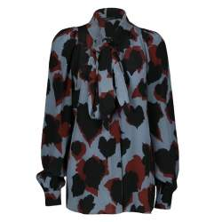 Gucci Abstract Leaf Print Neck Tie Detail Long Sleeve Silk Blouse S