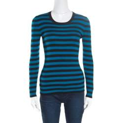 Gucci Black and Blue Striped Crew Neck Sweater XS