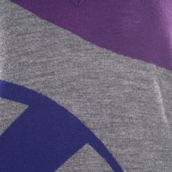 Gucci Melange Grey Patterned Wool V Neck Sweater L
