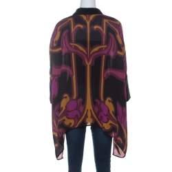 Gucci Purple Art Nouveau Print Silk Cape Shirt S