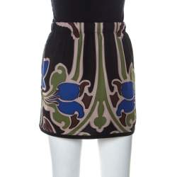 Gucci Multicolor Printed Silk Drawstring Detail Short Skirt S