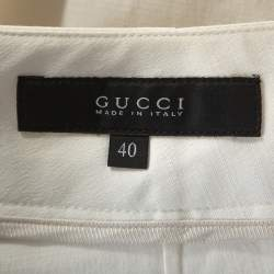 Gucci Cream Cotton Bamboo Buckle Detail Tapered Trousers S