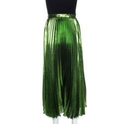 Gucci Green Metallic Plisse Silk Pleated Midi Skirt M