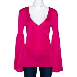 Gucci Hot Pink Stretch Knit V Neck Top M