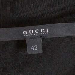 Gucci Black Jersey Cutout Detail Draped Dress M