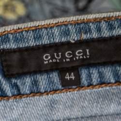 Gucci Blue Denim Floral Embroidered Legging Jeans M