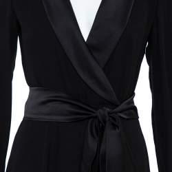 Gucci Black Silk Shawl Lapel Belted Maxi Dress M